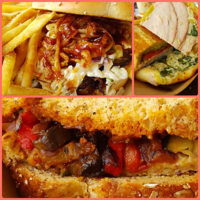 Pork belly, turkey and veggie sandwiches