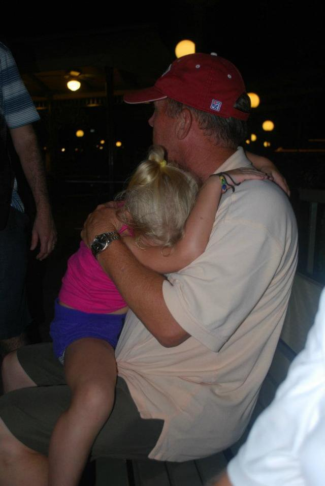 waiting on the monorail with papa tired, she goes to sleep :)